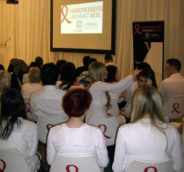 Hairdressers Against AIDS at the L'Oreal Academy in Toronto, 2011