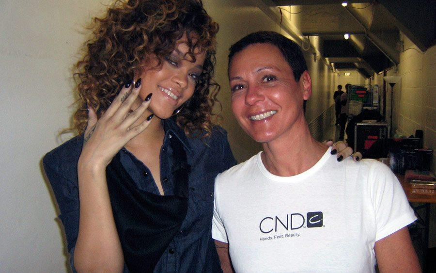 Flavia Pitton, CND VIP manicurist, gives Rihanna a shellac manicure