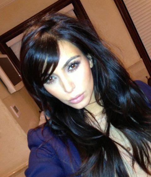 13 01 Kim Kardashian Cut Hair Bangs
