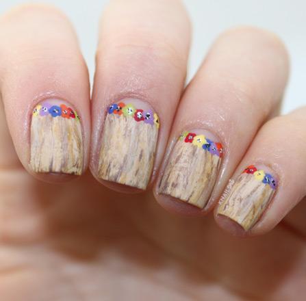 NOTD Hawaiian Grass Skirt Lei Flower Nails