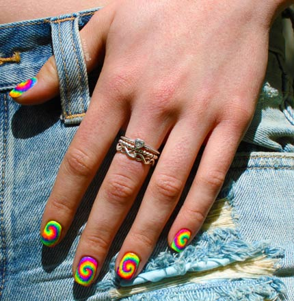 Tie Dye Nails Jean Shorts Girl Summer Neon
