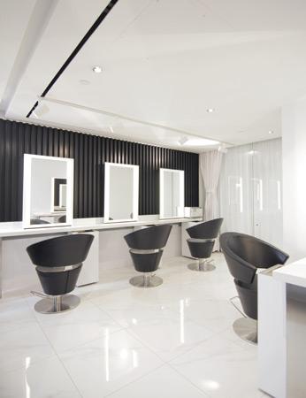 sleek salon interior