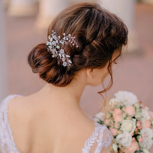 bride's wedding hairstyle from behind, close-up
